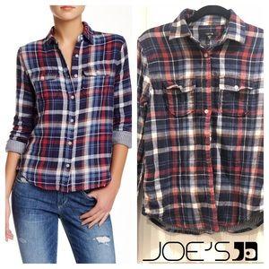 Joe's Jeans flannel shirt indigo red plaid small